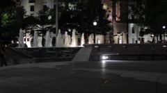 Stock Footage - Fountian - United States Naval Memorial at night - Wide - stock footage