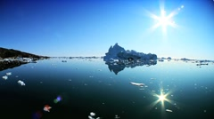 Large Floating Icebergs Broken from Glacier - stock footage