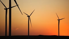Clean and Renewable Energy, Wind Power, Turbine, Windmill, Sunset, Sun Set - stock footage