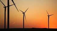 Clean and Renewable Energy, Wind Power, Turbine, Windmill, Sunset, Sun Set Stock Footage