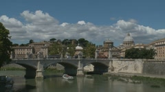 St Peters, Tiber with pleasure cruise, Rome Stock Footage