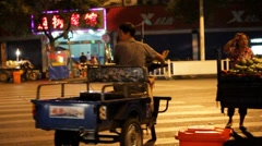 Streets of Shaoxing,China at night Stock Footage