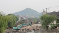 Development Work in Old part of China Stock Footage
