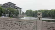 Stock Video Footage of Dragon Statue on Stone Bridge in China