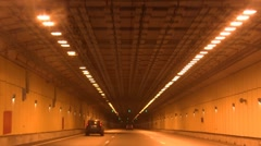 Driving through a long tunnel Stock Footage