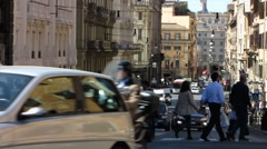 Rome downtown Traffic at Piazza Barberini square Stock Footage