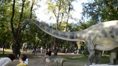 Exhibition of dinosaurs. Diplodocus - stock footage