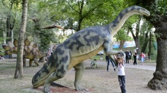 Exhibition of dinosaurs. Plateosaurus - stock footage