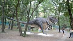 Exhibition of dinosaurs. Allosaurus - stock footage