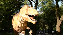 Exhibition of dinosaurs. Tyrannosaurus rex Stock Footage