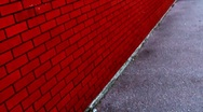 Walking Pov red wall point of view Stock Footage