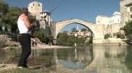 Stock Video Footage of fisherman by the Neretva river