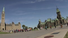 Pan Across Canadian Parliament Buildings Stock Footage