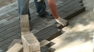 Stock Video Footage of Laying Pavers