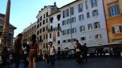 Rome Pantheon La Rotonda Piazza della Rotonda square Stock Footage