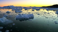 Sun Setting over Glacial Ice Stock Footage
