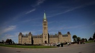 Stock Video Footage of Time Lapse of Canadian Parliament with Ultra Wide Angle