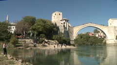 Stari Most. Old Bridge, Mostar 10 Stock Footage