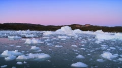 Colours at Dusk over Ice Floes Stock Footage