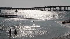 Destin Beach Silhouette Stock Footage