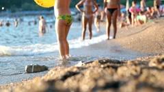 Children Enjoying The Sandy Beach Stock Footage