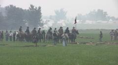 Stock Footage - Civil War Battle - Cavalry, infantry and gunfire scene - stock footage
