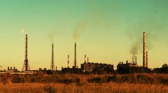 An ironworks at a sunset Stock Footage