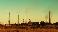 Stock Video Footage of an ironworks at a sunset