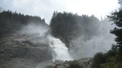 Powerful Krimml Waterfalls wide Stock Footage
