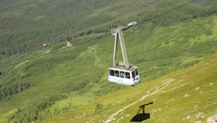 Aerial Tram car descending Mt. Alyeska (HD) c - stock footage