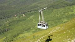 Aerial Tram car descending Mt. Alyeska (HD) c Stock Footage