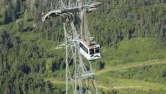 Alyeska Aerial Tram heading down Mt. Alyeska (HD) c - stock footage