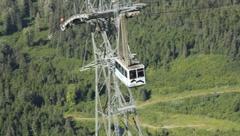 Alyeska Aerial Tram heading down Mt. Alyeska (HD) c Stock Footage