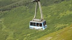 Alyeska Aerial Tram coming into terminal at top of Mt. Alyeska(HD) c Stock Footage