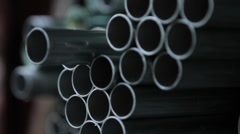 Stacked Steel Pipes Stock Footage