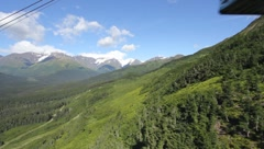 View from tram car going down Mt. Alyeska (HD) c Stock Footage