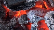 Extreme close up of burning wood Stock Footage