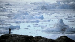 People Viewing the Melting Arctic Icecap Stock Footage