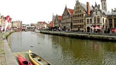 Calm river in Gent, Belgium Stock Footage