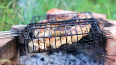 Barbecue chicken legs grilled during picnic Stock Footage