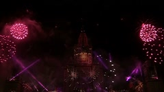 Fireworks over Moscow university. Stock Footage