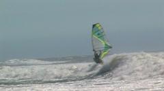 Windsurfer tacking - stock footage