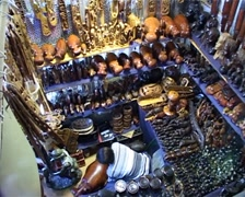 African Craft Market zoom out from Vendor Stall GFSD Stock Footage