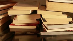 Stacked books (tracking motion) Stock Footage