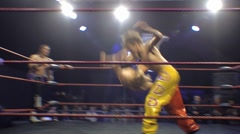 Pro wrestling match - Hiptoss slam HD Stock Footage