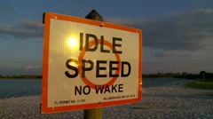 Idle Speed boating sign - stock footage