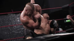 Pro wrestling match - Abdominal stretch submission hold HD Stock Footage