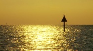 Channel marker at sunset in Tampa Bay, Fl Stock Footage