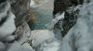 Stock Video Footage of Clear waterfalls over smooth rocks - 1