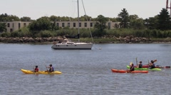 Cape May kayakers Stock Footage